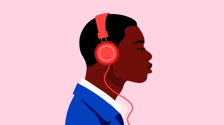Black teen / man with headphones