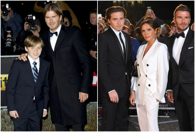 Brooklyn Beckham with mom Victoria Beckham and dad David Beckham
