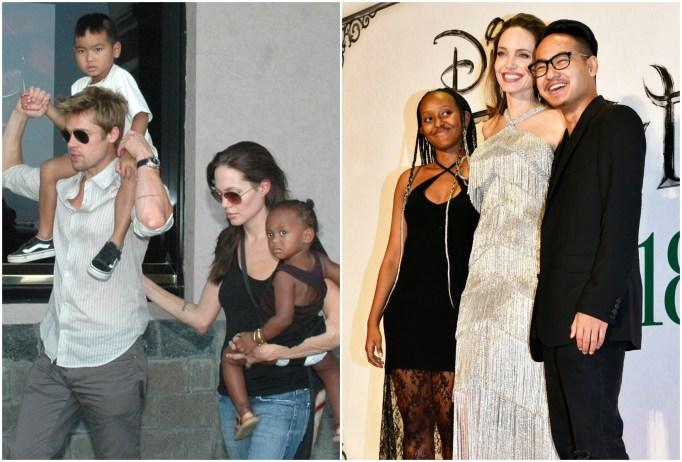 Maddox and Zahara Jolie-Pitt with parents Angelina Jolie and Brad Pitt