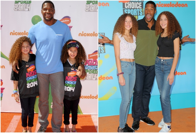 Isabella and Sophia Strahan with dad Michael Strahan