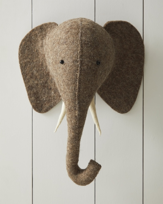 Nursery Artwork That's One-of-a-Kind — & Affordable: Felted Wool Wall Animal – Elephant