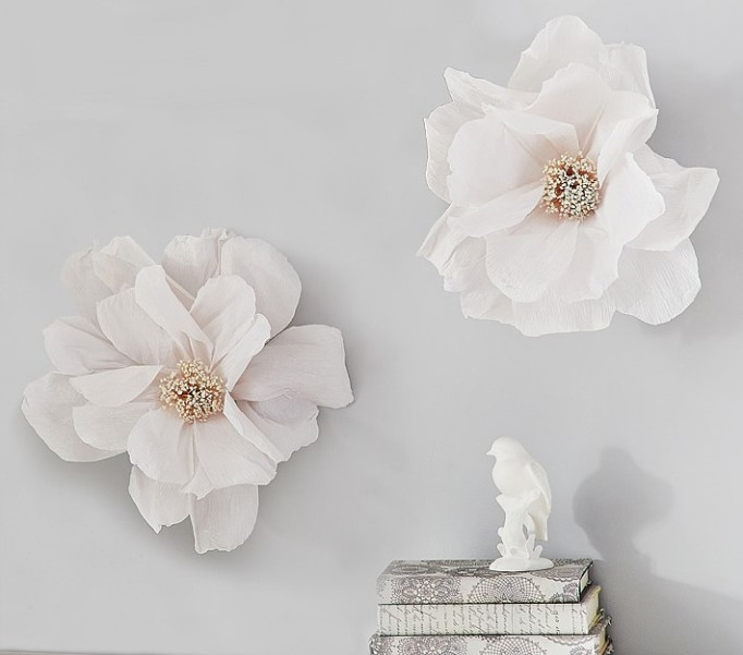 Nursery Artwork That's One-of-a-Kind — & Affordable: White Paper Crepe Flowers