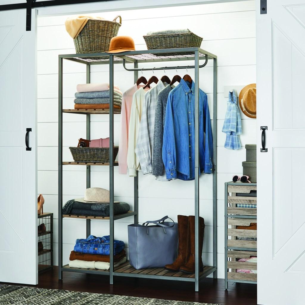 Better Homes & Gardens Farmhouse Grey Wood and Metal Garment Rack