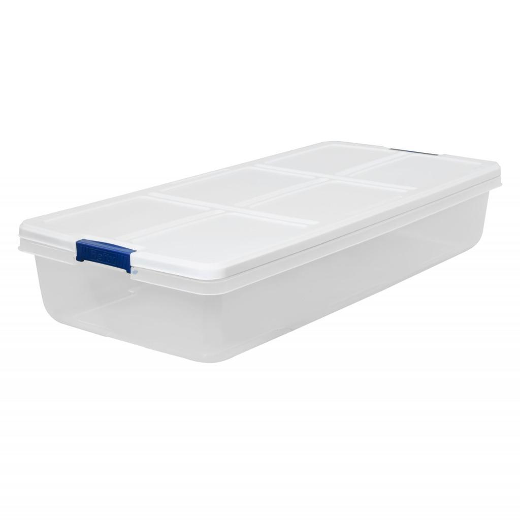 Hefty 52-Quart Latch Box, White Lid and Blue Handles