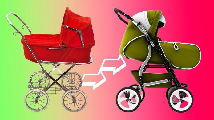 Retro stroller vs modern stroller
