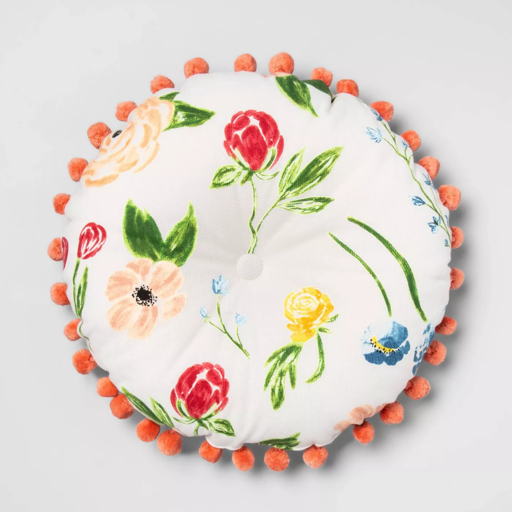 Opalhouse Round Floral Pillow with Poms
