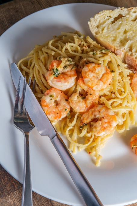 Pisces: Linguine with shrimp scampi