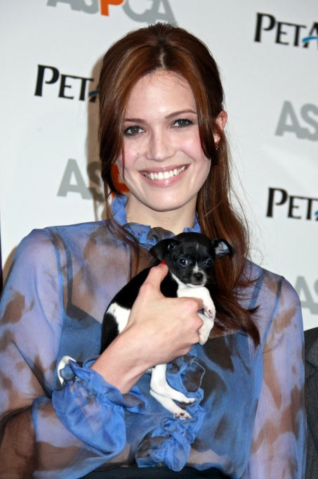 Mandy Moore holding a puppy