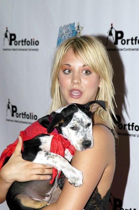 Kaley Cuoco with a Sad Puppy
