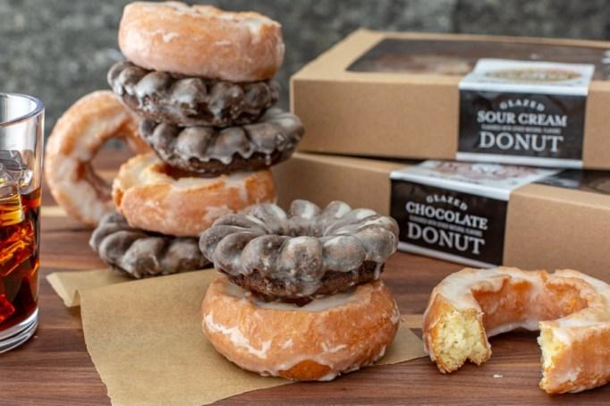 Glazed Chocolate & Sour Cream Glazed Donuts.