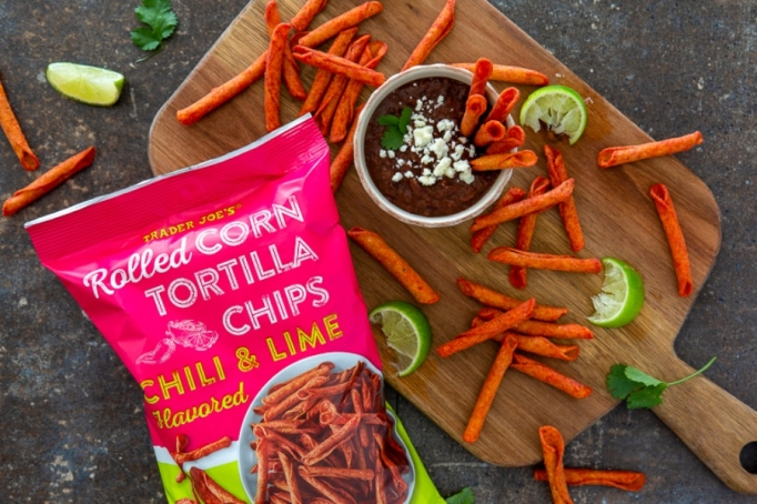 Rolled Corn Tortilla Chips: Chili & Lime.