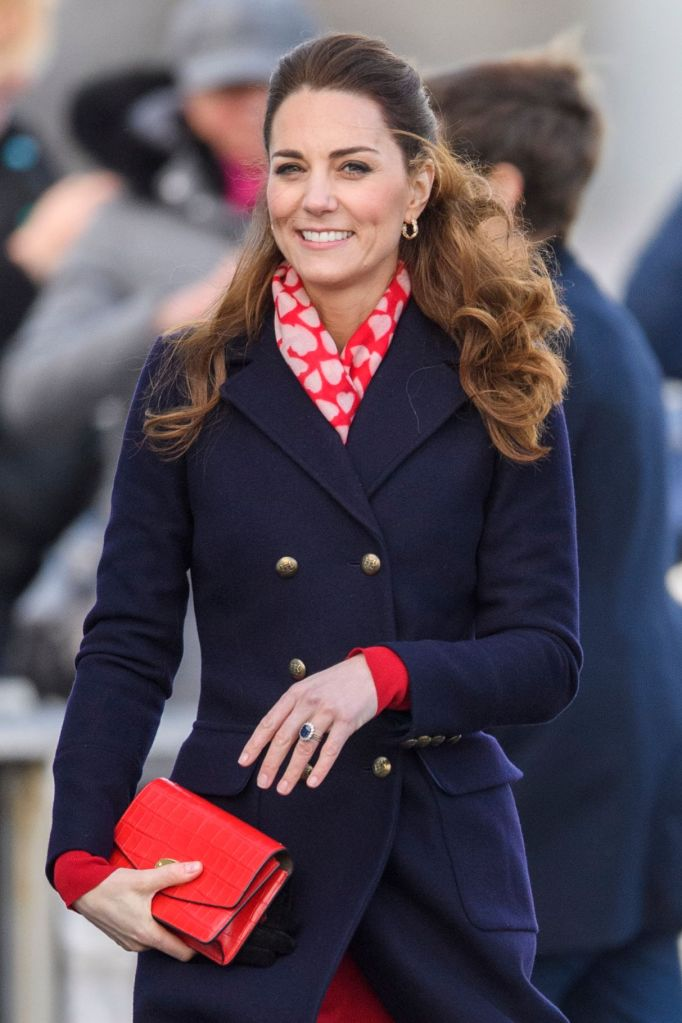 Catherine Duchess of Cambridge visit to RNLI Mumbles Lifeboat Station, SwanseaPrince William and Catherine Duchess of Cambridge visit to South Wales, UK - 04 Feb 2020 Wearing Hobbs, Bag By Mulberry, Scarf By Beulah London