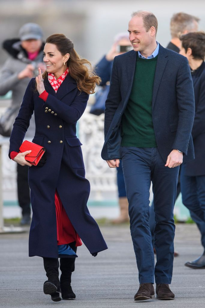 Prince William and Catherine Duchess of Cambridge visit to RNLI Mumbles Lifeboat Station, SwanseaPrince William and Catherine Duchess of Cambridge visit to South Wales, UK - 04 Feb 2020 Wearing Hobbs, Bag By Mulberry, Scarf By Beulah London, Shoes By Stuart Weitzman
