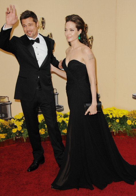 """Brad Pitt and Angelina Jolie81st Annual Academy Awards Arrivals, Los Angeles, America - 22 Feb 2009Actor: Sean Penn, 'Milk'Actress: Kate Winslet, 'The Reader'Supporting Actor: Heath Ledger, 'The Dark Knight'Supporting Actress: Penelope Cruz, 'Vicky Cristina Barcelona'Motion Picture: 'Slumdog Millionaire'Director: Danny Boyle, 'Slumdog Millionaire'Adapted Screenplay: Simon Beaufoy, 'Slumdog Millionaire'Cinematography: 'Slumdog Millionaire'Sound Mixing: 'Slumdog Millionaire'Original Score: 'Slumdog Millionaire', A.R. Rahman.Original Song: """"Jai Ho"""" from 'Slumdog Millionaire', A.R. Rahman and Gulzar.Film Editing: 'Slumdog Millionaire'Original Screenplay: Dustin Lance Black, 'Milk'Animated Feature Film: 'WALL-E'Documentary Feature: 'Man on Wire'Costume: 'The Duchess'Visual Effects: 'The Curious Case of Benjamin Button'Makeup: 'The Curious Case of Benjamin Button.'Art Direction: 'The Curious Case of Benjamin Button'Sound Editing: 'The Dark Knight'"""