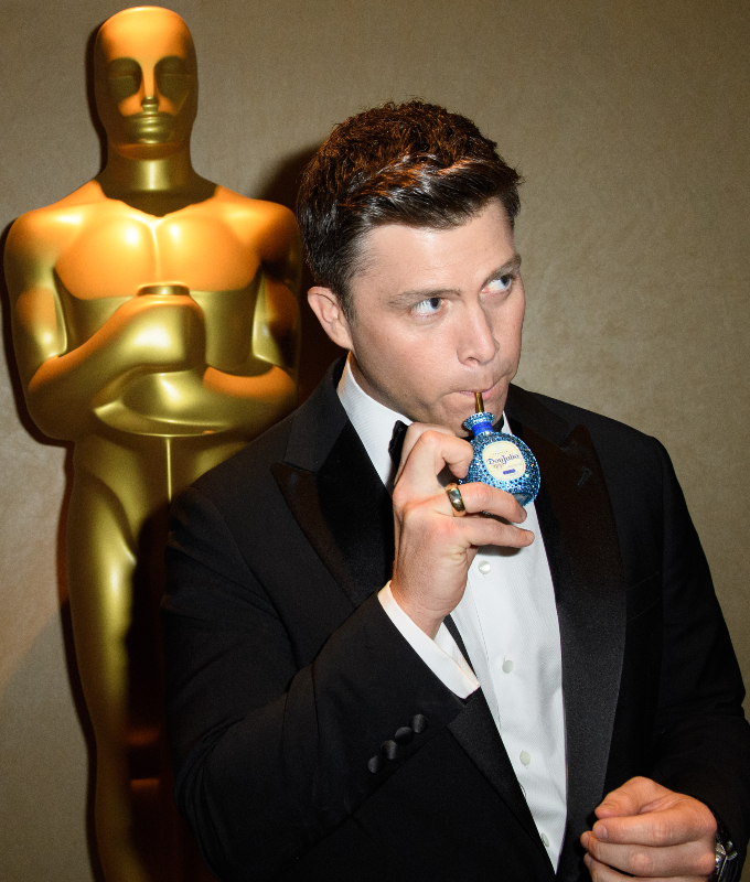 Colin Jost was seen sneaking the mini Tequila Don Julio cocktail from the red carpet to his seat at the 92nd Oscars ®