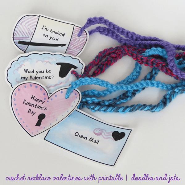 DIY Kids Valentine's Day Cards crochet necklace card