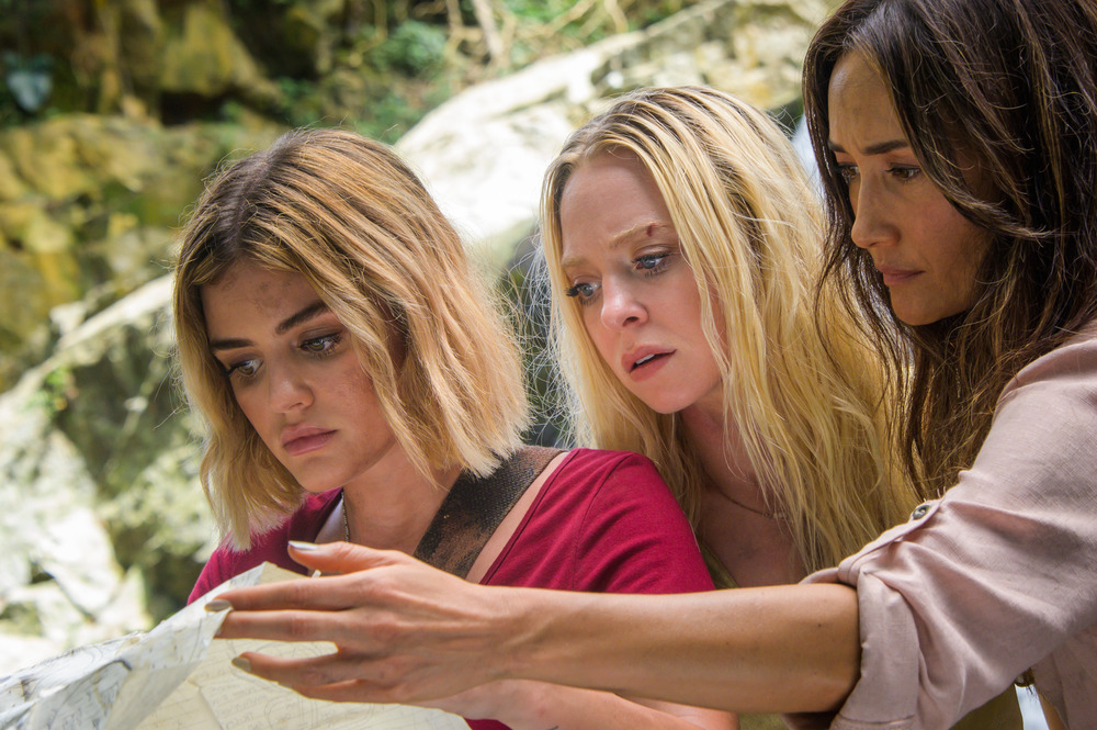 (l to r) Lucy Hale, Portia Doubleday and Maggie Q in Columbia Pictures' BLUMHOUSE'S FANTASY ISLAND.