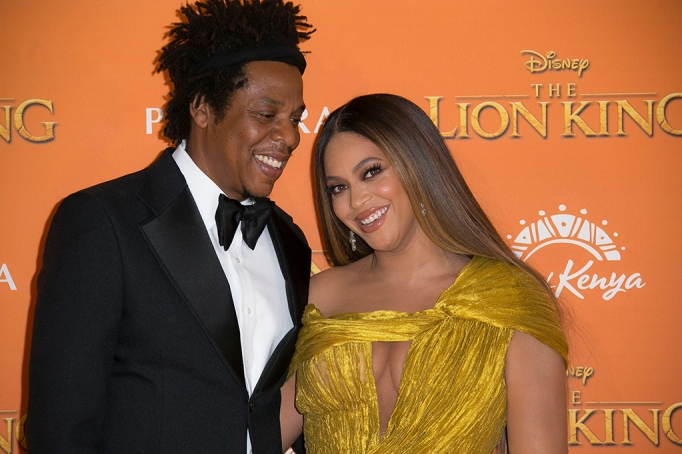 Jay-Z, Beyonce. Singers Jay-Z, left, and Beyonce pose for photographers upon arrival at the 'Lion King' European premiere in central London Lion King Premiere, Glastonbury, United Kingdom - 14 Jul 2019
