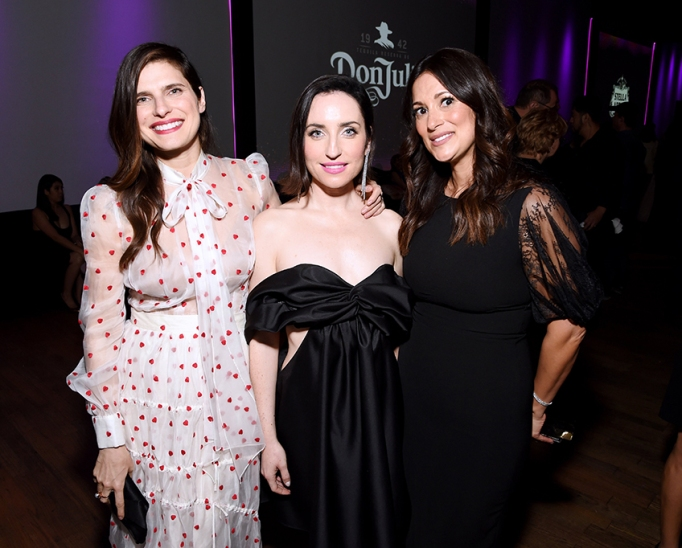 HOLLYWOOD, CALIFORNIA - FEBRUARY 07: (L-R) Lake Bell, Zoe Lister-Jones and Angelique Cabral as Tequila Don Julio Celebrates the 13th Annual Women In Film Oscar Nominees Party at Sunset Room Hollywood on February 07, 2020 in Hollywood, California. (Photo by Michael Kovac/Getty Images for Tequila Don Julio)