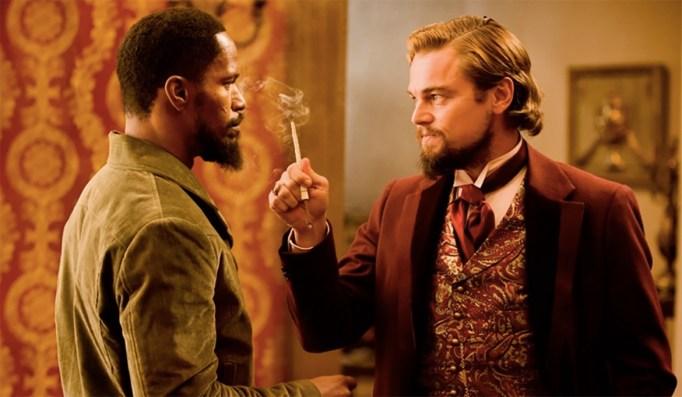 Leonardo DiCaprio and Jamie Foxx in Django Unchained (2012)