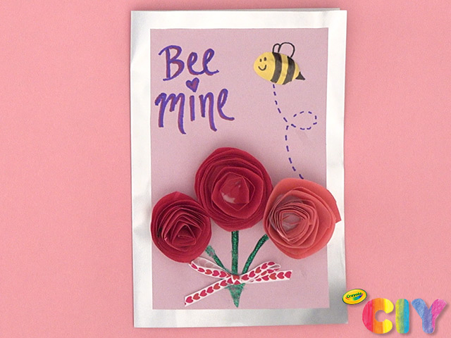 DIY Kids Valentine's Day Cards Crayola paper roses