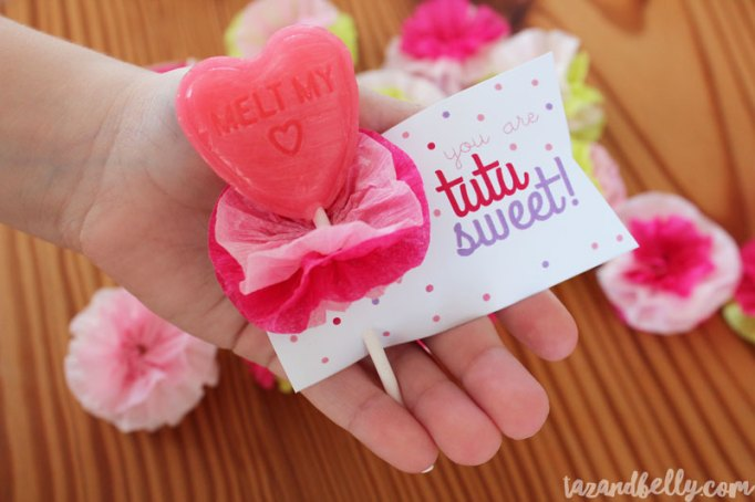 DIY Kids Valentine's Day Cards Tutu Lollipops