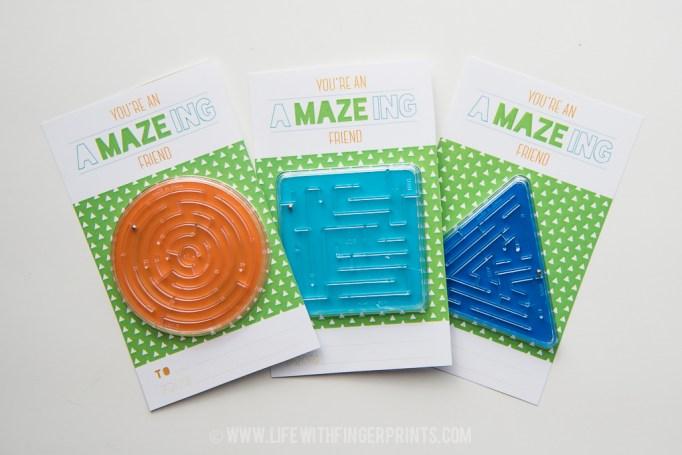 Kids Valentine's Day Cards toy maze cards