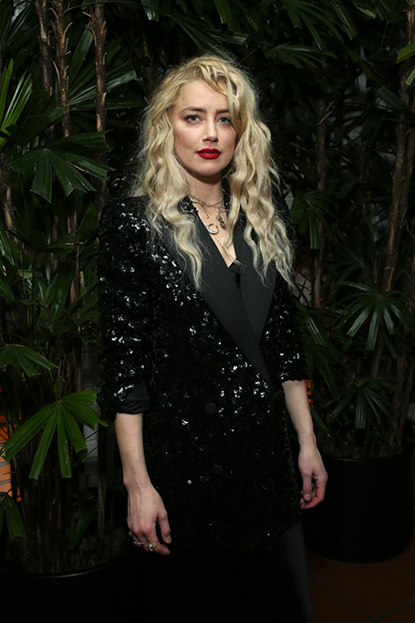 """LOS ANGELES, CALIFORNIA - FEBRUARY 07: Amber Heard attends Vanity Fair and Saint Laurent Celebrate """"Parasite"""" on February 07, 2020 in Los Angeles, California. (Photo by Phillip Faraone/Getty Images for Vanity Fair)"""