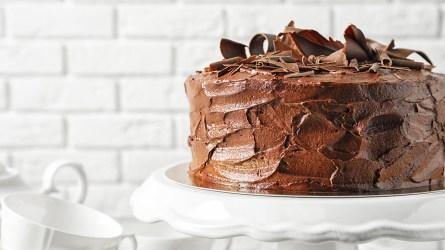 Stand with tasty homemade chocolate cake
