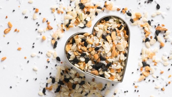 Bagel Seasoning in a Heart Shape; Shutterstock ID 1626069991; Purchase Order: N/A