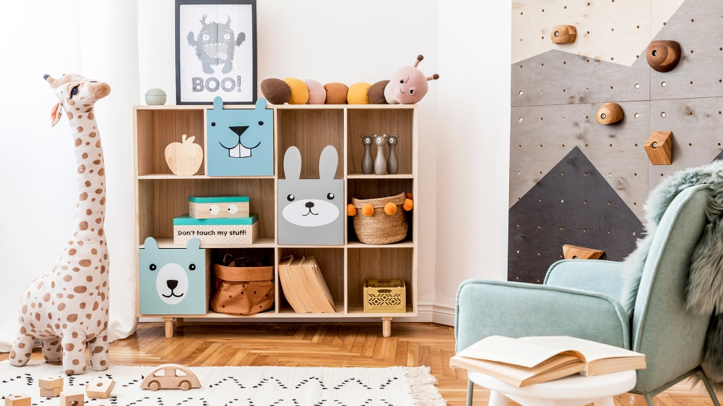 Scandinavian interior design of playroom with