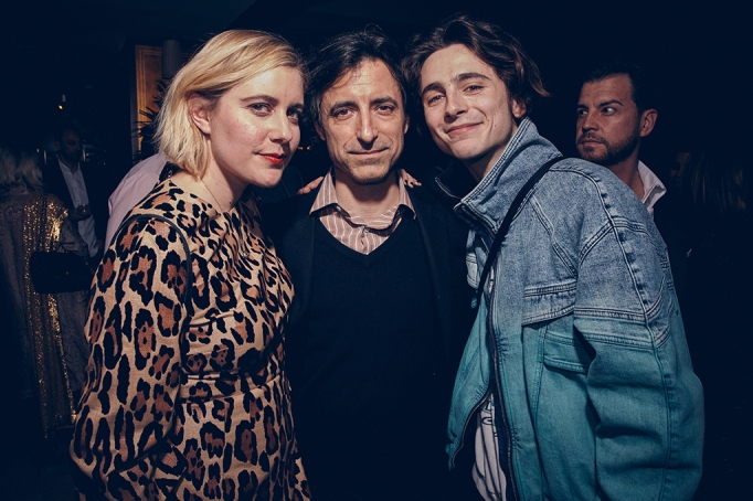 Greta Gerwig, Noah Baumbach and Timothée Chalamet attend the UTA Pre-Oscar Party featuring Heineken at Sunset Tower in West Hollywood on February 7, 2020
