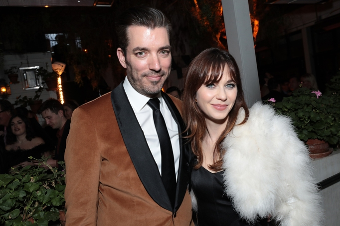 Jonathan Scott and Zooey Deschanel attend the CAA Pre-Oscar Party, at San Vicente Bungalows in West Hollywood on February 7, 2020.(photo: Alex J. Berliner/ABImages)