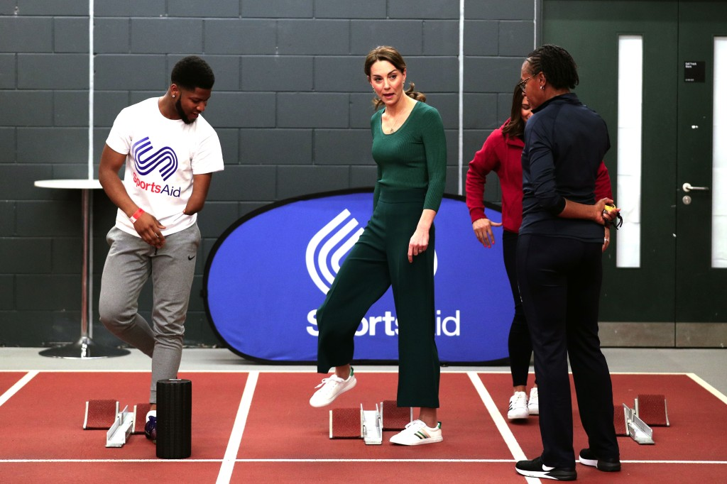Catherine Duchess of Cambridge (centre) prepares to race against para-athlete sprinter Emmanuel Oyinbo-CokerCatherine Duchess of Cambridge attends a SportsAid event, Stratford, London, UK - 26 Feb 2020