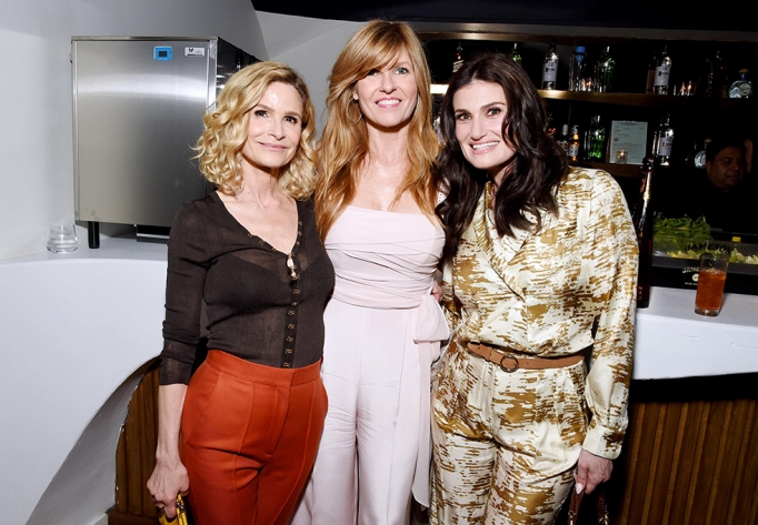 HOLLYWOOD, CALIFORNIA - FEBRUARY 07: (L-R) Kyra Sedgwick, Connie Britton and Idina Menzel as Tequila Don Julio Celebrates the 13th Annual Women In Film Oscar Nominees Party at Sunset Room Hollywood on February 07, 2020 in Hollywood, California. (Photo by Michael Kovac/Getty Images for Tequila Don Julio)