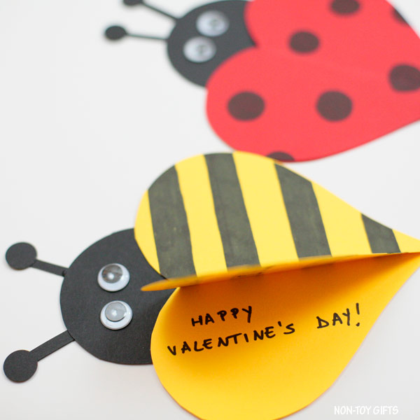 DIY Kids Valentine's Day Cards ladybug bee cards