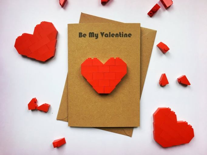 Kids Valentine's Day Cards lego hearts