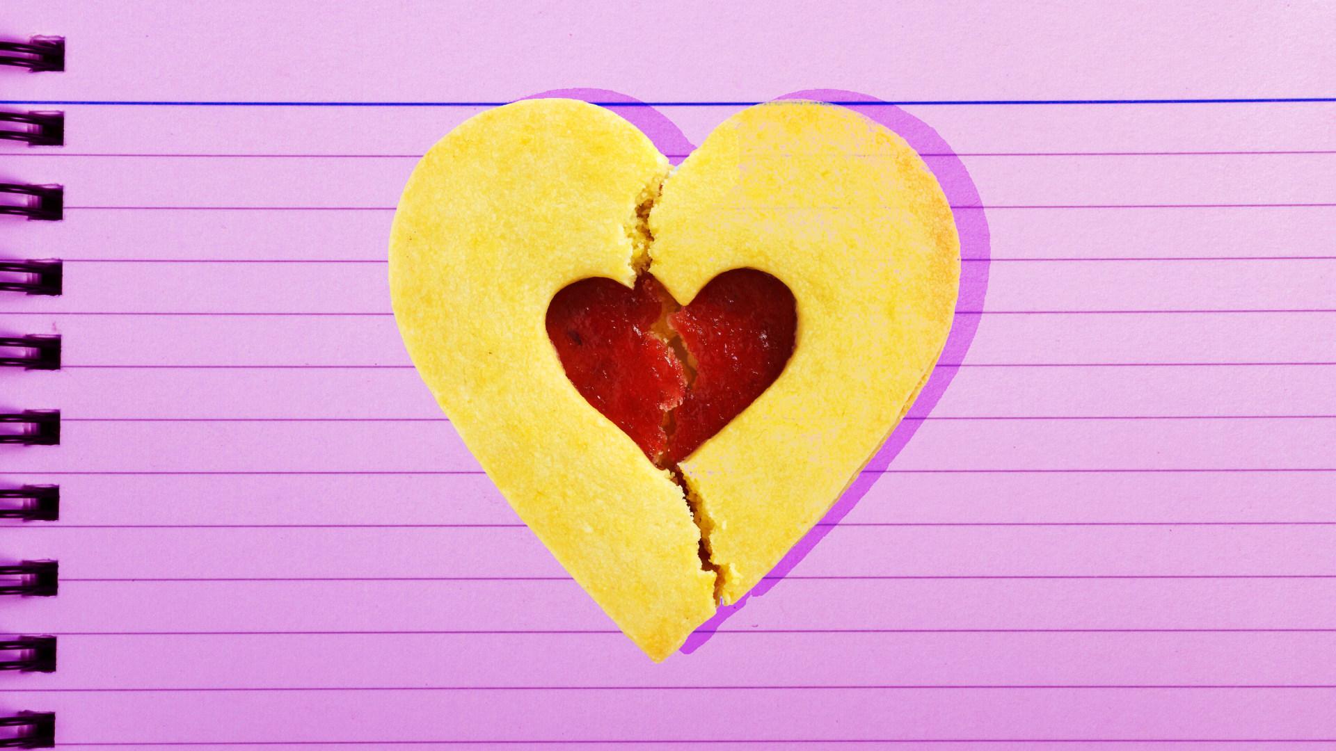 Valentine's Day broken heart cookie