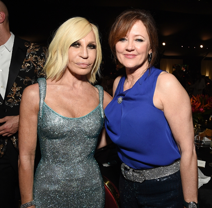 Donatella Versace and Anne Aslett attend the 28th Annual Elton John AIDS Foundation Academy Awards Viewing Party.