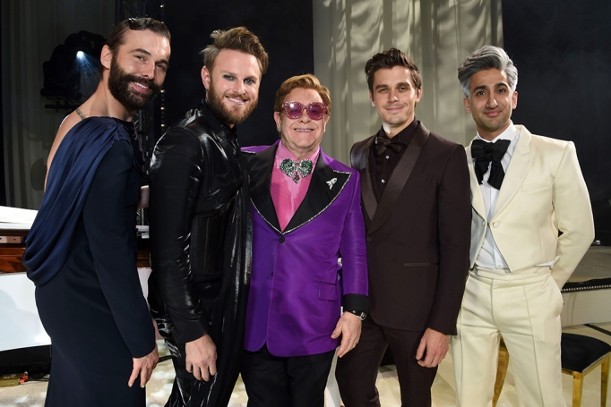Jonathan Van Ness, Bobby Berk, Sir Elton John, Antoni Porowski and Tan France attend the 28th Annual Elton John AIDS Foundation Academy Awards Viewing Party.
