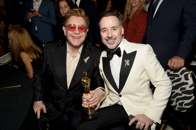 Elton John and David Furnish attend the 28th Annual Elton John AIDS Foundation Academy Awards Viewing Party.