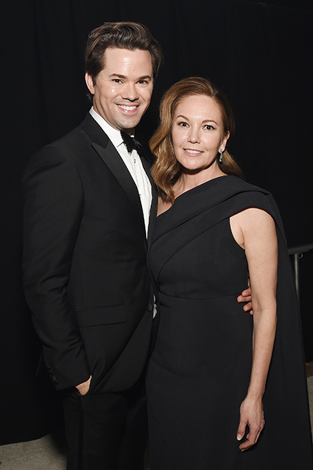 Andrew Rannells and Diane Lane attend the 28th Annual Elton John AIDS Foundation Academy Awards Viewing Party