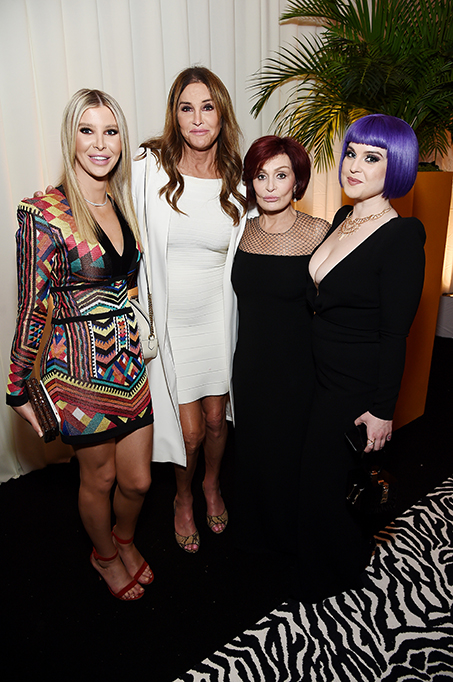 Sophia Hutchins, Caitlyn Jenner, Sharon Osbourne, and Kelly Osbourne attend the 28th Annual Elton John AIDS Foundation Academy Awards.