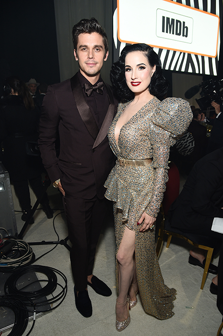Antoni Porowski and Dita Von Teese attend the 28th Annual Elton John AIDS Foundation Academy Awards Viewing Party.