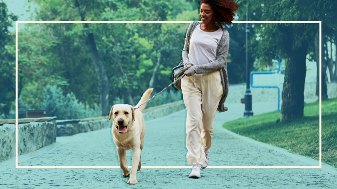 woman-walking-dog-LISS-workouts