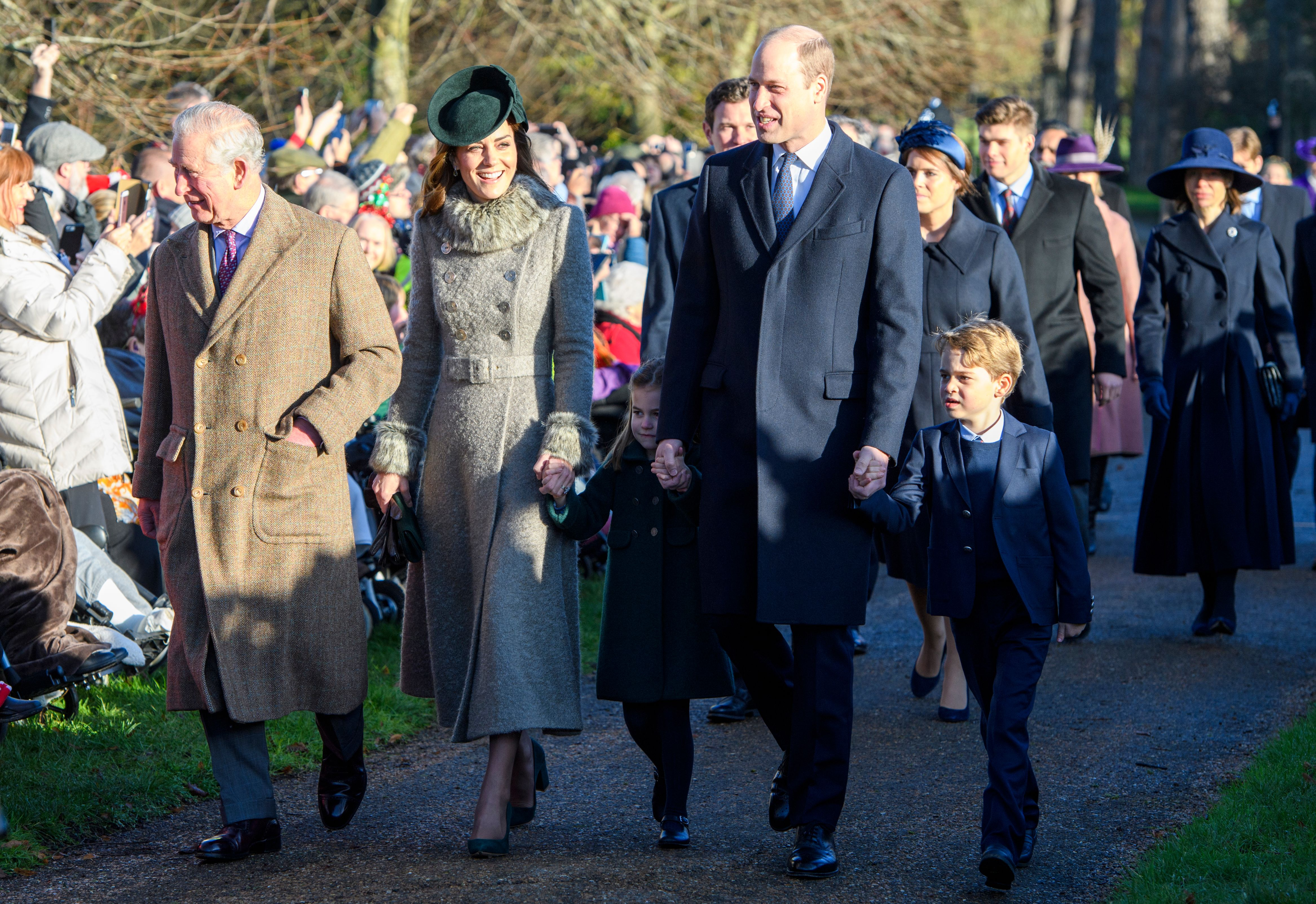 Prince Charles, Catherine Duchess of Cambridge, Princess Charlotte, Prince William, Prince George at St Mary Magdalene ChurchChristmas Day church service, Sandringham, Norfolk, UK - 25 Dec 2019 Wearing Catherine Walker, Shoes by Emmy London, Hat by Sylvia Fletcher