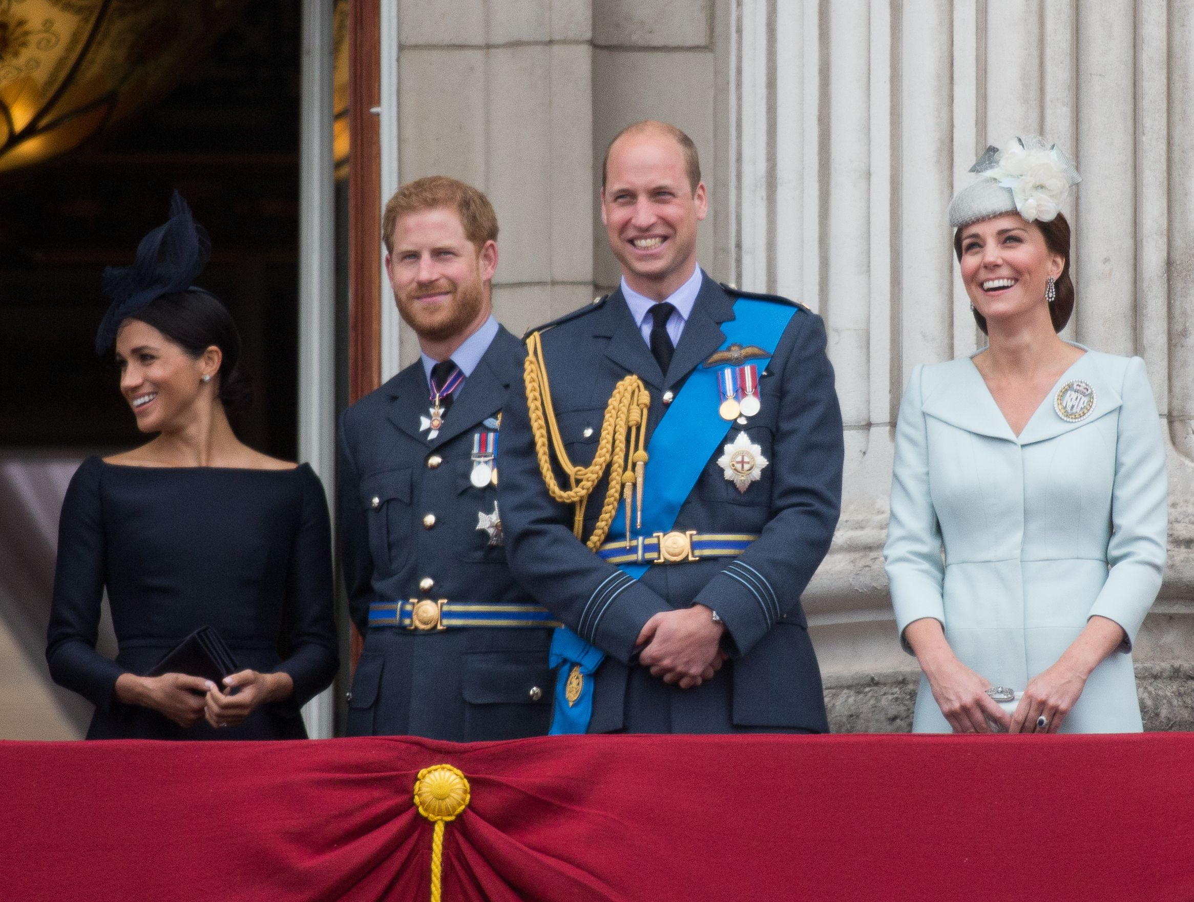 Meghan Duchess of Sussex, Prince Harry, Prince William and Catherine Duchess of Cambridge on the balcony of Buckingham Palace100th Anniversary of the Royal Air Force, London, UK - 10 Jul 2018