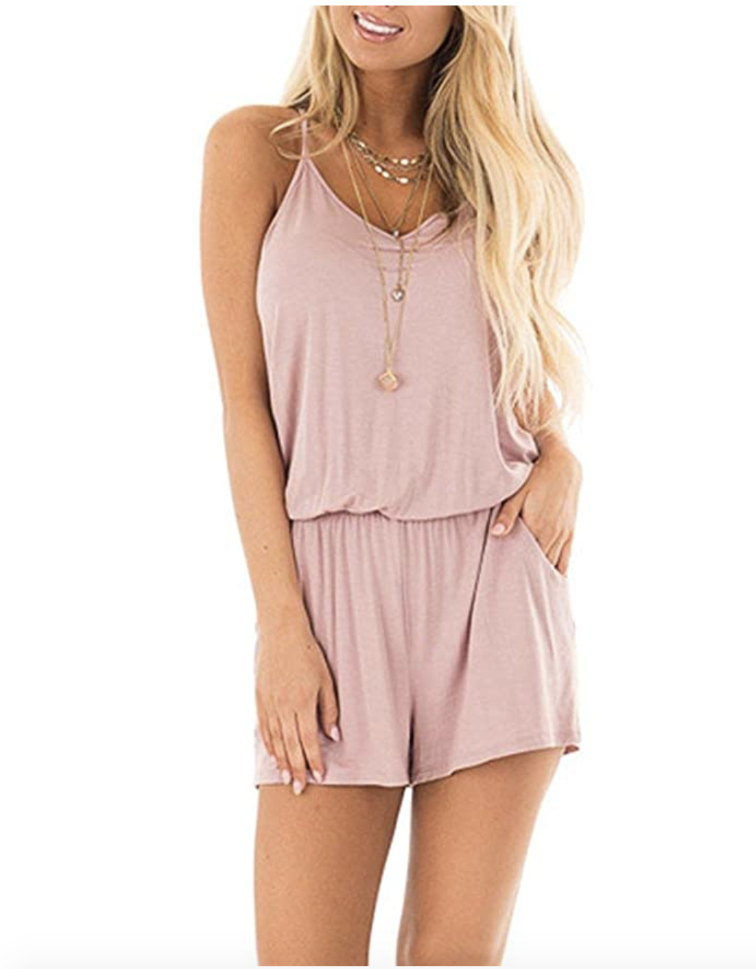 MISFAY Womens Summer Loose V Neck Spaghetti Strap Short Jumpsuit Rompers