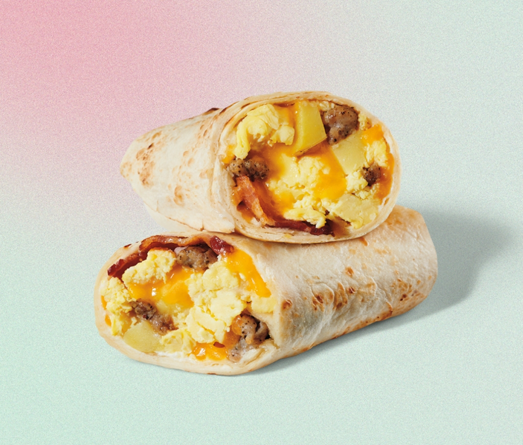 egg bacon and sausage wrap