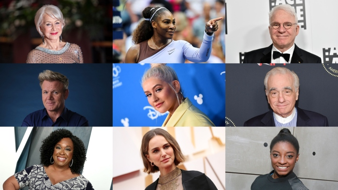 Helen Mirren, Serena Williams, Steve Martin,